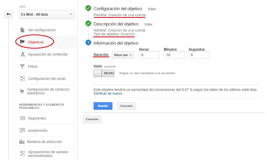 Análisis de la configuración de los pasos en la elaboración de los objetivos de una web. Análisis web. Marketing online Mallorca