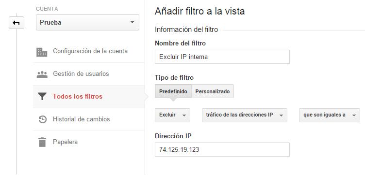 Análisis web. Analizar proceso de añadir un filtro a la vista correspondiente. Análisis de segmentación del tráfico web. Marketing online Mallorca