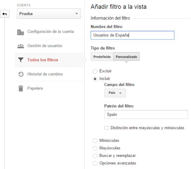 Análisis web. Analizar y configurar filtros de ubicación geográfica. Marketing online Mallorca. Analitia web