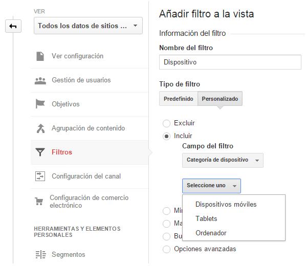 Análisis web. Analizar filtro sobre tipo de dispositivo utilizado por los usuarios. Marketing online Mallorca. Analitia web